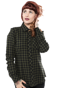 Women's Olive Plaid Chola Button-Up Shirt