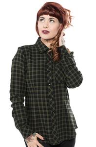 Women's Olive Plaid Chola Button-Up Shirt