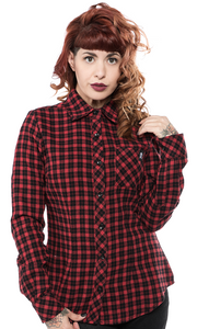 Women's Red Plaid Chola Style Button-Up Shirt