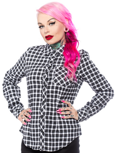 Women's White Plaid Chola Style Button-Up Shirt
