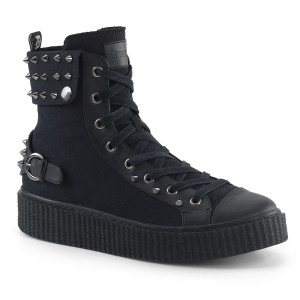 Cuffed Snap Collar Platfrom High Top Creeper Sneaker by Demonia