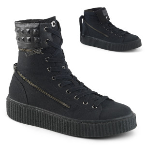 Stud Embossed Collar Platfrom High Top Creeper Sneaker by Demonia