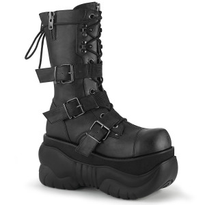 Platform Mid Calf Boot With 3 Nylon Buckle Straps by Demonia