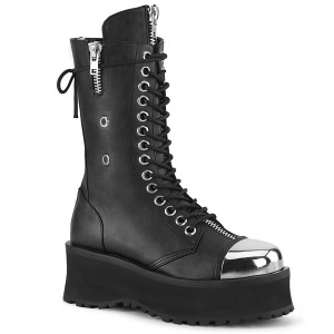 Platform Mid Calf Boot W/ Silver Chrome Plated Toe by Demonia