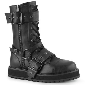 Platform Mid-Calf Combat Boots With Harness Strap