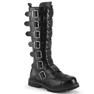 Tall Steel Toe Knee Leather Combat Boots With Multiple Buckles