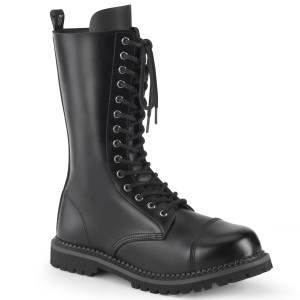 Steel Toe 14i Lace-Up Mid Calf Leather Combat Boots