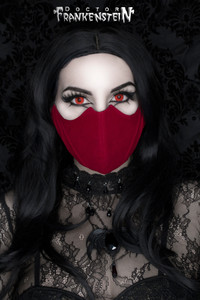 Red Velvet Black Bat Shaped Face Mask