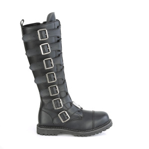 Tall Steel Toe Knee Vegan Combat Boots With Multiple Buckles