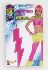 80's Style Neon Lighting Bolt Earrings