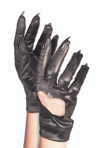 Heart Cutout Black Cat Gloves