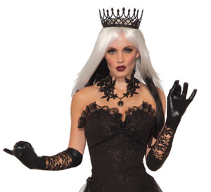 Dark Royalty Long Black Lace Accent Gloves