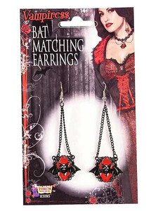 Red Hanging Bat Earrings