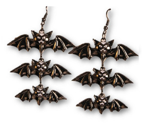 Black 3 Bat Hanging Earrings