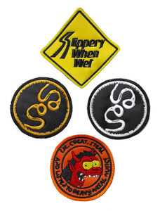 4 Piece Embroidered Patch Lot - Slippery When Wet + More!