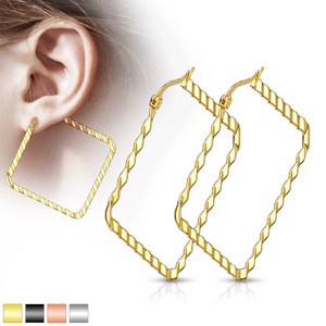 2x Square Hoop Multicolor Earrings