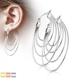 2x Quadruple Hoop Multicolor Earrings