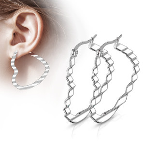 2x Heart Hoop Silver Earrings