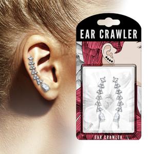 2x Curved Studded Ear Climber Earrings