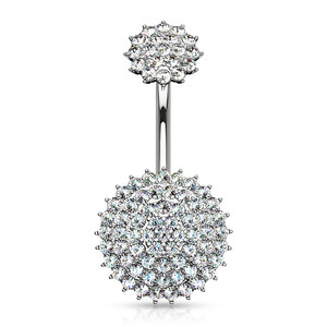 Paved Round Shields Belly Button Ring