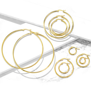 2x Classic Plain Hoop Gold Earrings