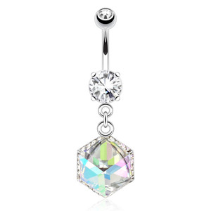 Cube Prism Gem Belly Button Ring