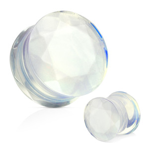 Pair of Opalite Gem Cut Double Flared Plug Ear Expansions