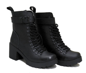 Womens Black Leather High-Heeled Boots