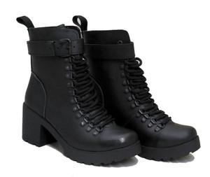 Womens Black Leather Loop eyelets Platform Boots