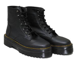 Black Vegan Leather 7 Eyelet Platform Boots