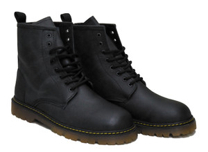 Black Leather 8 Eyelet Laceup Combat Boots