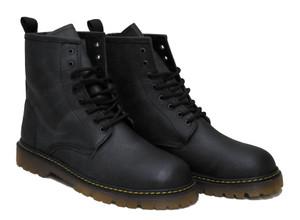 Black Leather 8i Combat Boots