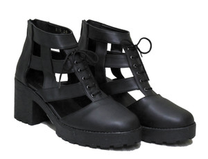 Black Gladiator Style Cutout High-Heel Boots