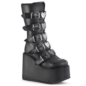 Platform High Boots with Heart Metal plates