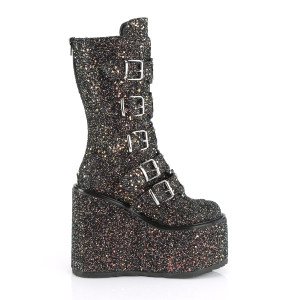 Platform High Glitter Boots with Heart Metal plates