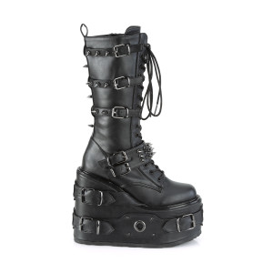 "Platform ""Tactical"" High Boots with Straps and Spikes details"