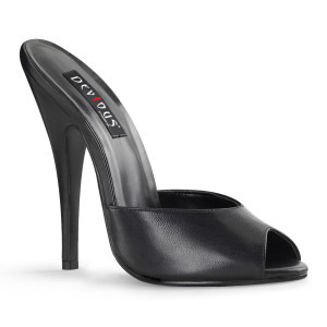 """6"""" Leather Stiletto Heel Peep Toe Slides"""