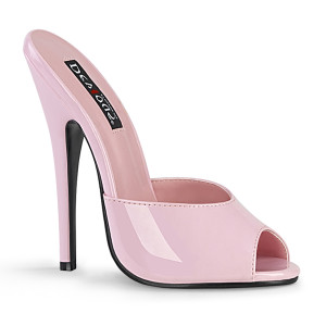 "6"" Pink Patent Leather Stiletto Heel Peep Toe Slides"