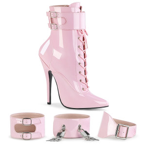 "6"" Pink Patent Leather Stiletto Ankle Boots"