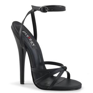 "6"" Black Leather Strappy Stiletto Heels"