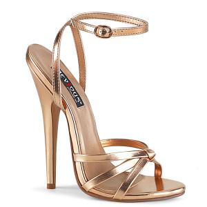 "6"" Rose Gold Metallic Strappy Stiletto Heels"