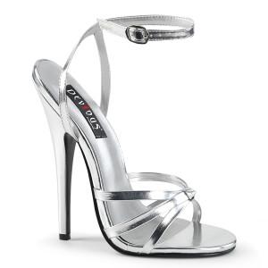 "6"" Silver Metallic Strappy Stiletto Heels"