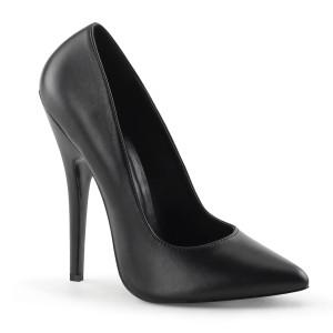 "6"" Black Leather Classic Pump Stiletto Heels"