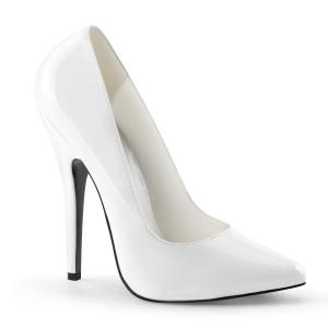 "6"" White Patent Leather Classic Pump Stiletto Heels"