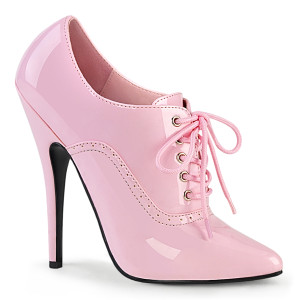 """6"""" Pink Patent Leather Oxford Lace-Up Stiletto Heels"""