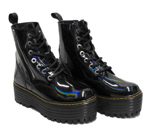 Black Holographic 7 Eyelet Zipper Combat Boots