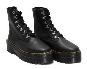 Solid Black 8 Eyelet Platform Combat Boots