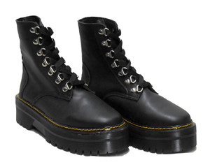 Black Vegan Loop Eyelets Platform Combat Boots