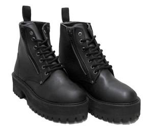 Black Double Zipper Platform Combat Boots