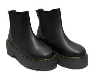Solid Black Platform Chelsea Boots